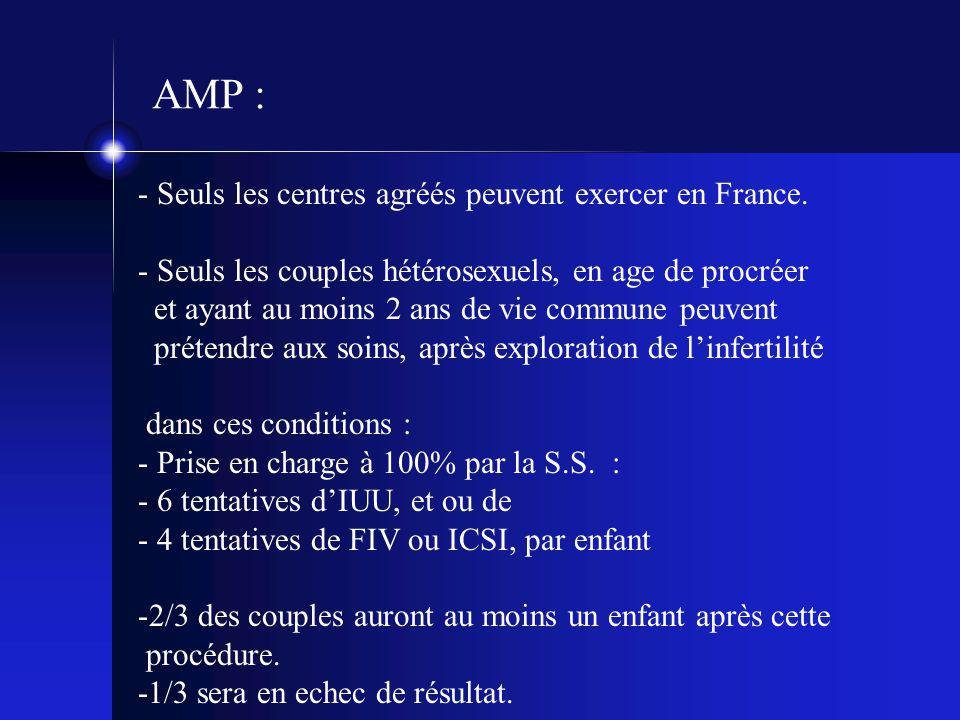 AMP : - Seuls les centres agréés peuvent exercer en France.