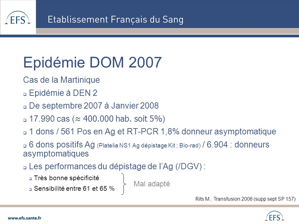 Epidémie DOM 2007 Cas de la Martinique Epidémie à DEN 2