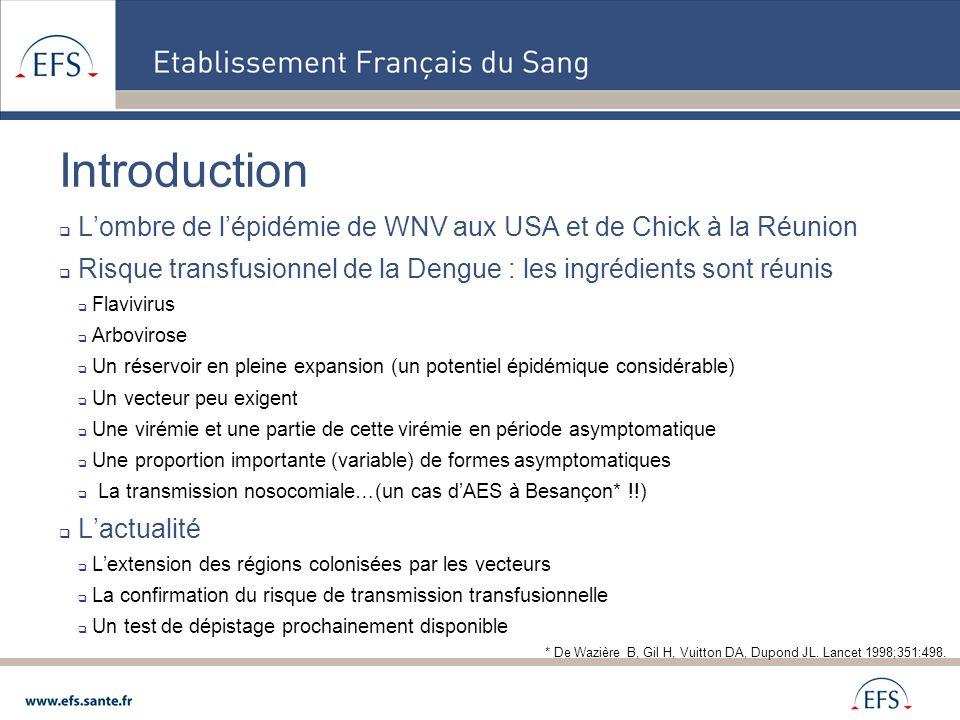 Introduction L'ombre de l'épidémie de WNV aux USA et de Chick à la Réunion. Risque transfusionnel de la Dengue : les ingrédients sont réunis.
