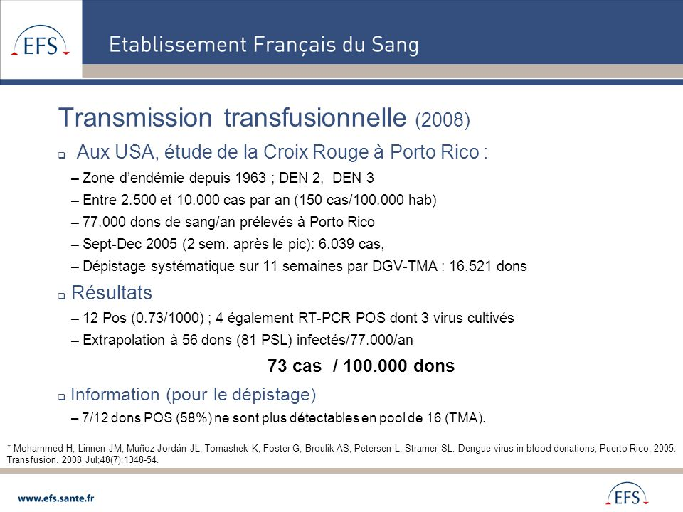 Transmission transfusionnelle (2008)
