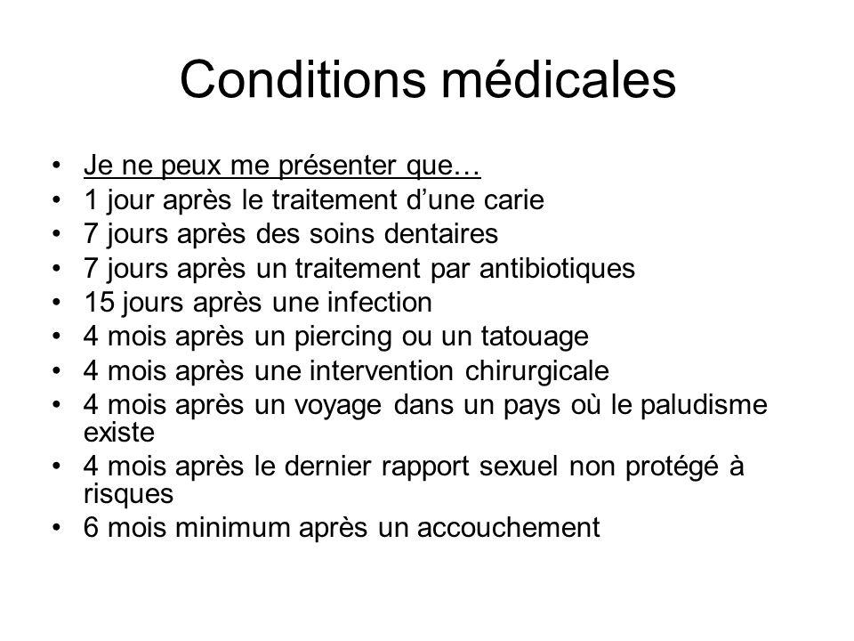 Conditions médicales Je ne peux me présenter que…