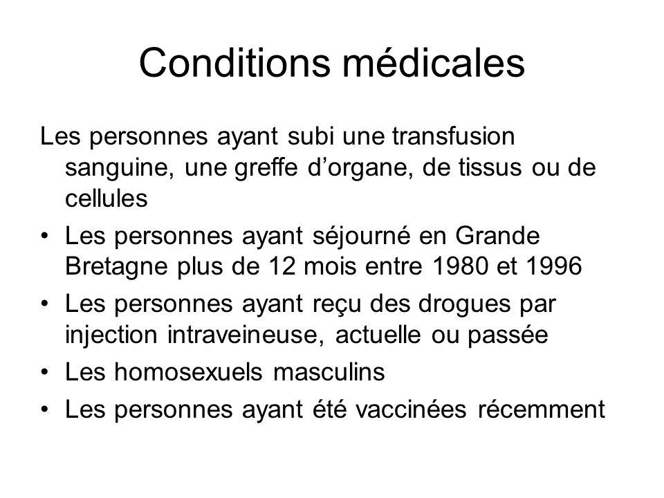 Conditions médicales Les personnes ayant subi une transfusion sanguine, une greffe d'organe, de tissus ou de cellules.