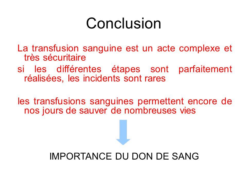 Conclusion La transfusion sanguine est un acte complexe et très sécuritaire.