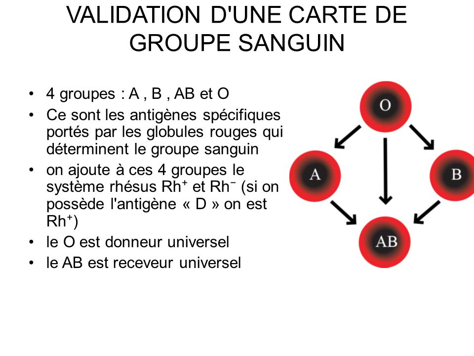 VALIDATION D UNE CARTE DE GROUPE SANGUIN