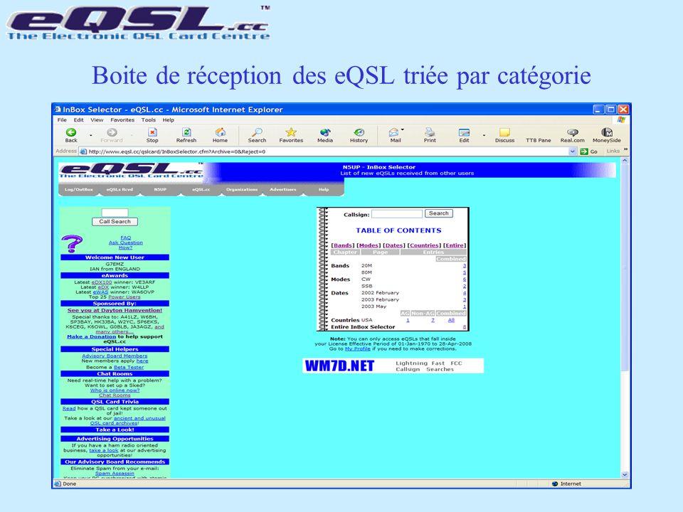 Boite de réception des eQSL triée par catégorie