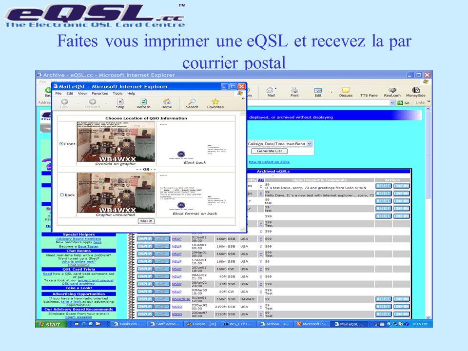 Faites vous imprimer une eQSL et recevez la par courrier postal
