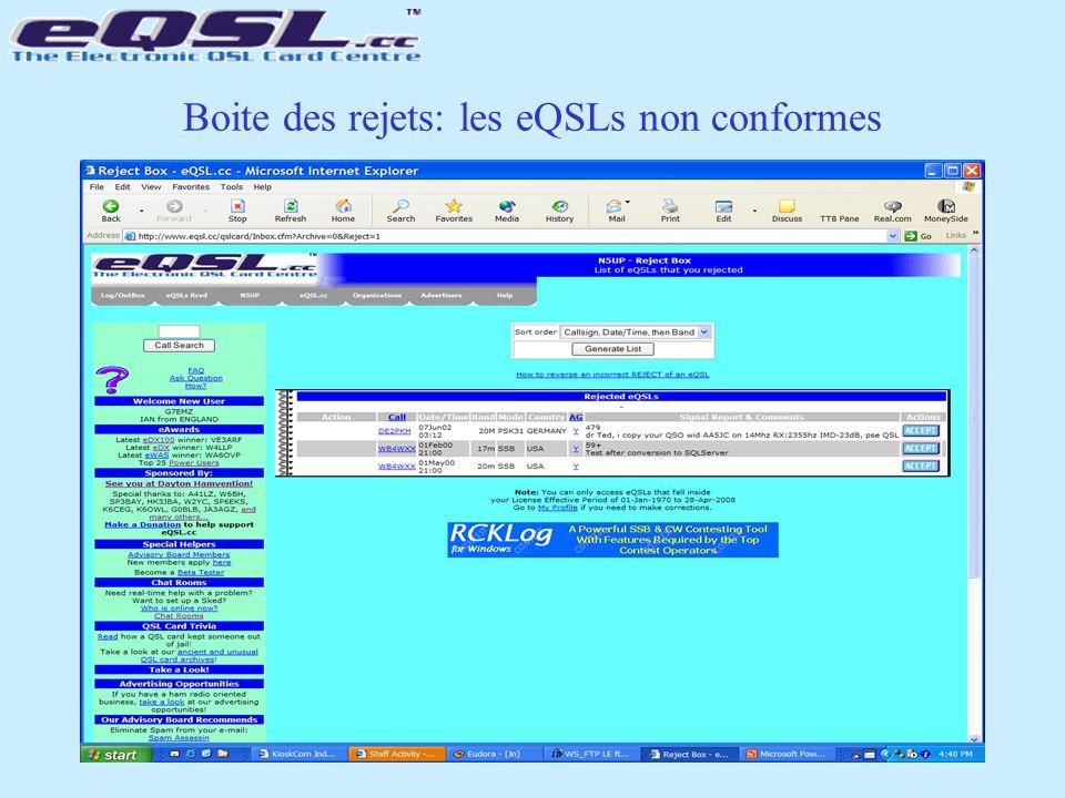 Boite des rejets: les eQSLs non conformes