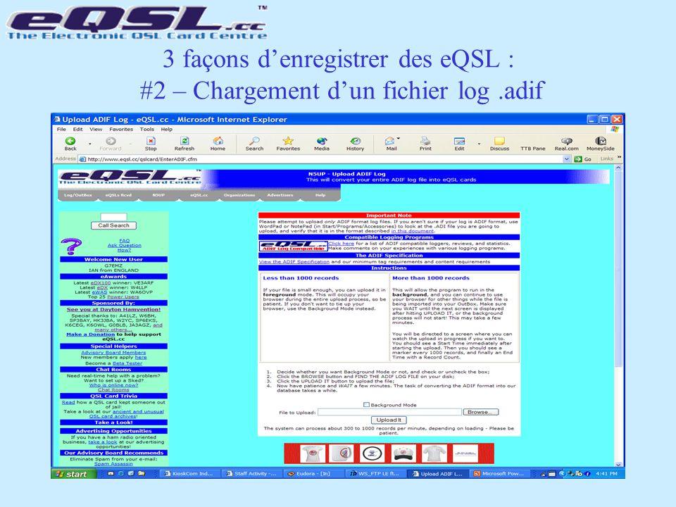 3 façons d'enregistrer des eQSL : #2 – Chargement d'un fichier log