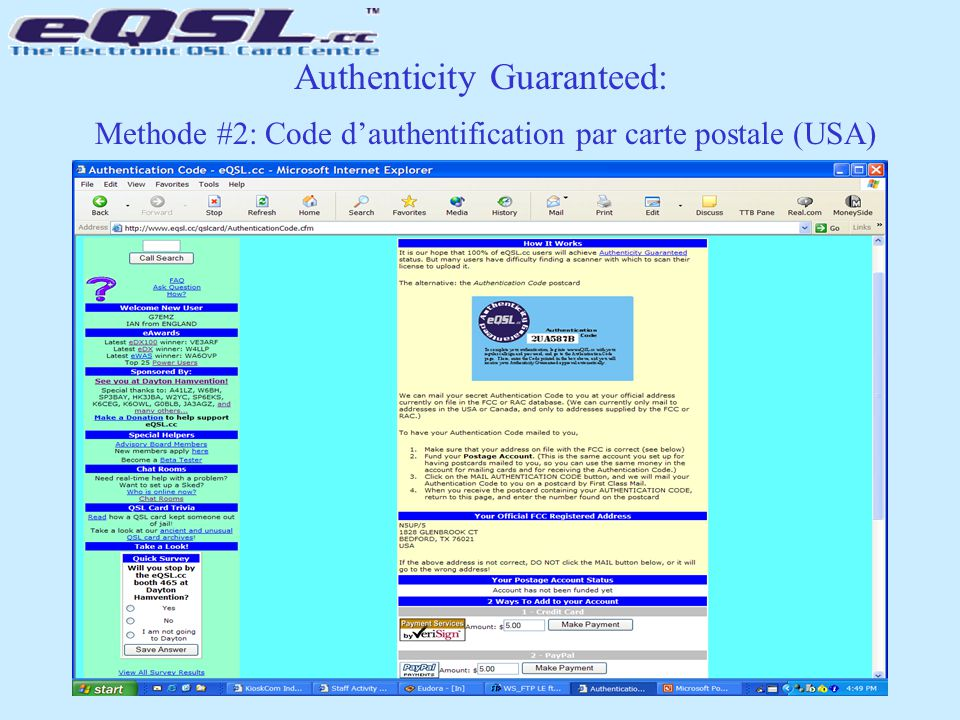 Authenticity Guaranteed: Methode #2: Code d'authentification par carte postale (USA)