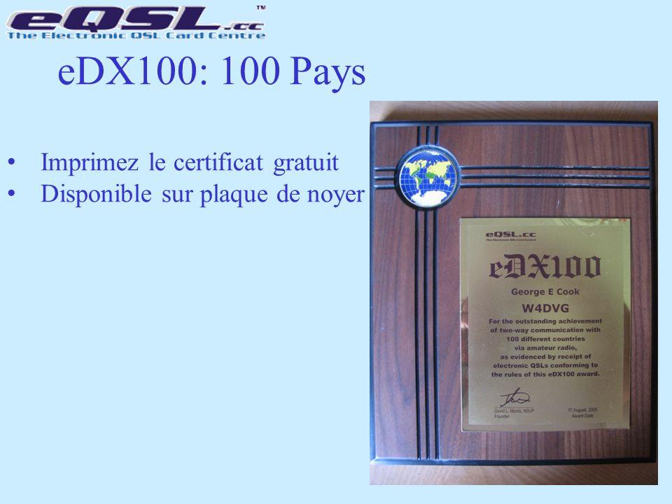 eDX100: 100 Pays Imprimez le certificat gratuit