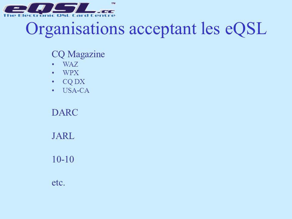 Organisations acceptant les eQSL