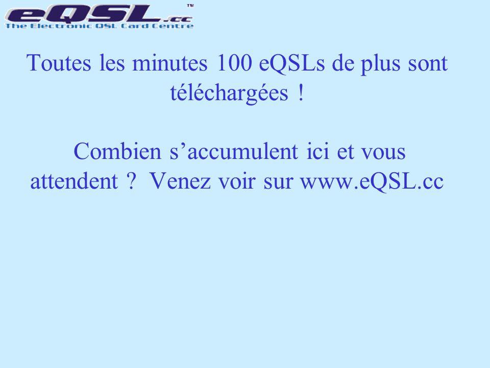 Toutes les minutes 100 eQSLs de plus sont téléchargées