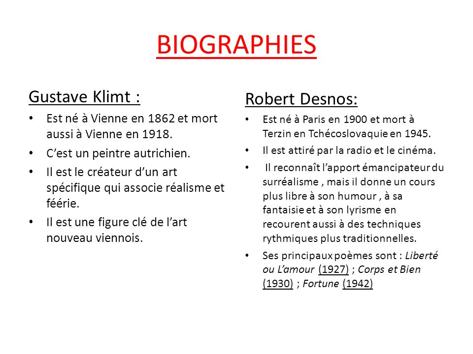 BIOGRAPHIES Gustave Klimt : Robert Desnos: