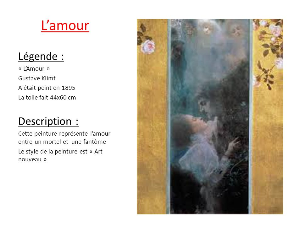 L'amour Légende : Description : « L'Amour » Gustave Klimt