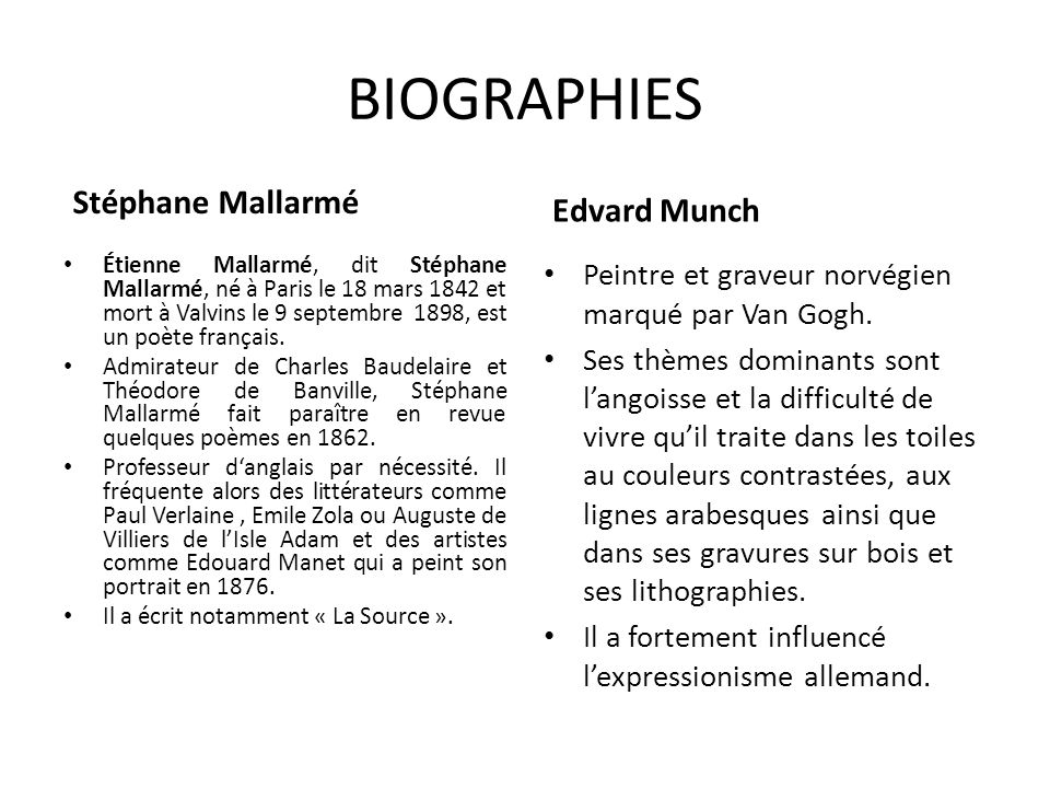 BIOGRAPHIES Stéphane Mallarmé Edvard Munch