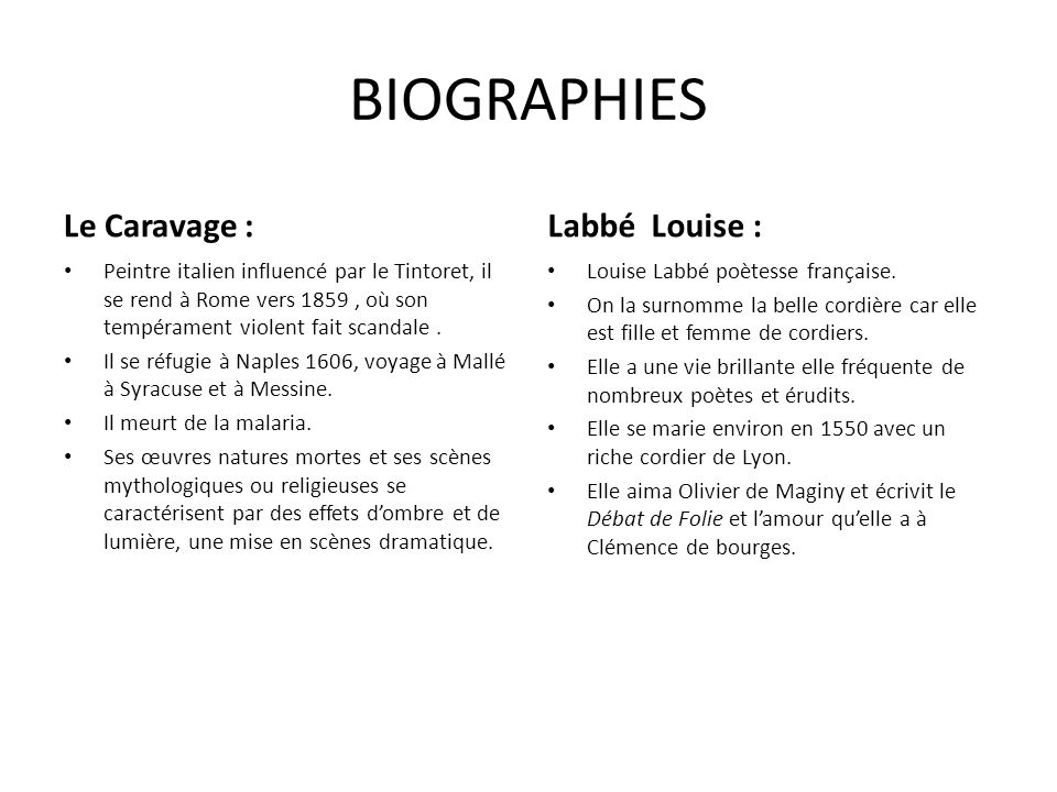 BIOGRAPHIES Le Caravage : Labbé Louise :