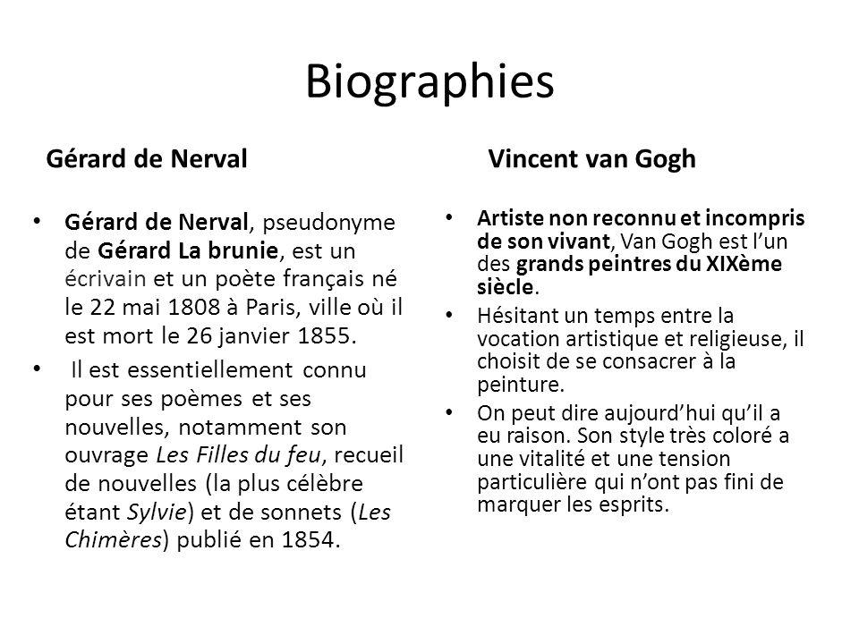 Biographies Gérard de Nerval Vincent van Gogh