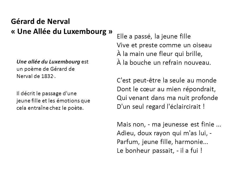Gérard de Nerval « Une Allée du Luxembourg »
