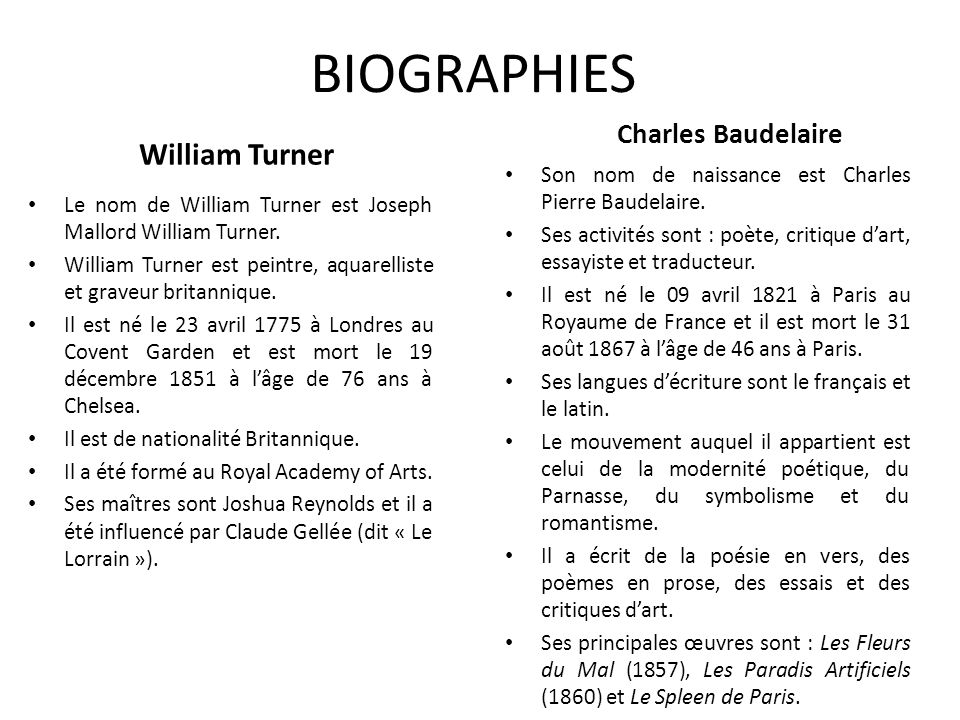 BIOGRAPHIES William Turner Charles Baudelaire