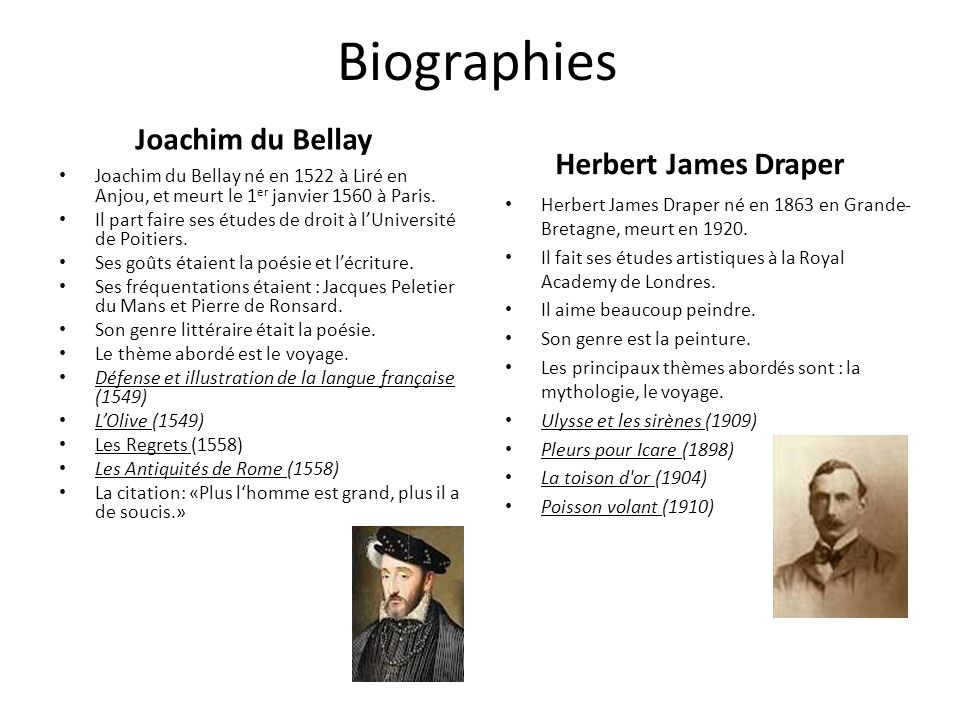 Biographies Joachim du Bellay Herbert James Draper