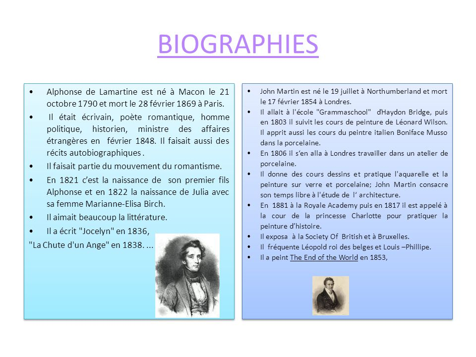 BIOGRAPHIES Alphonse de Lamartine est né à Macon le 21 octobre 1790 et mort le 28 février 1869 à Paris.