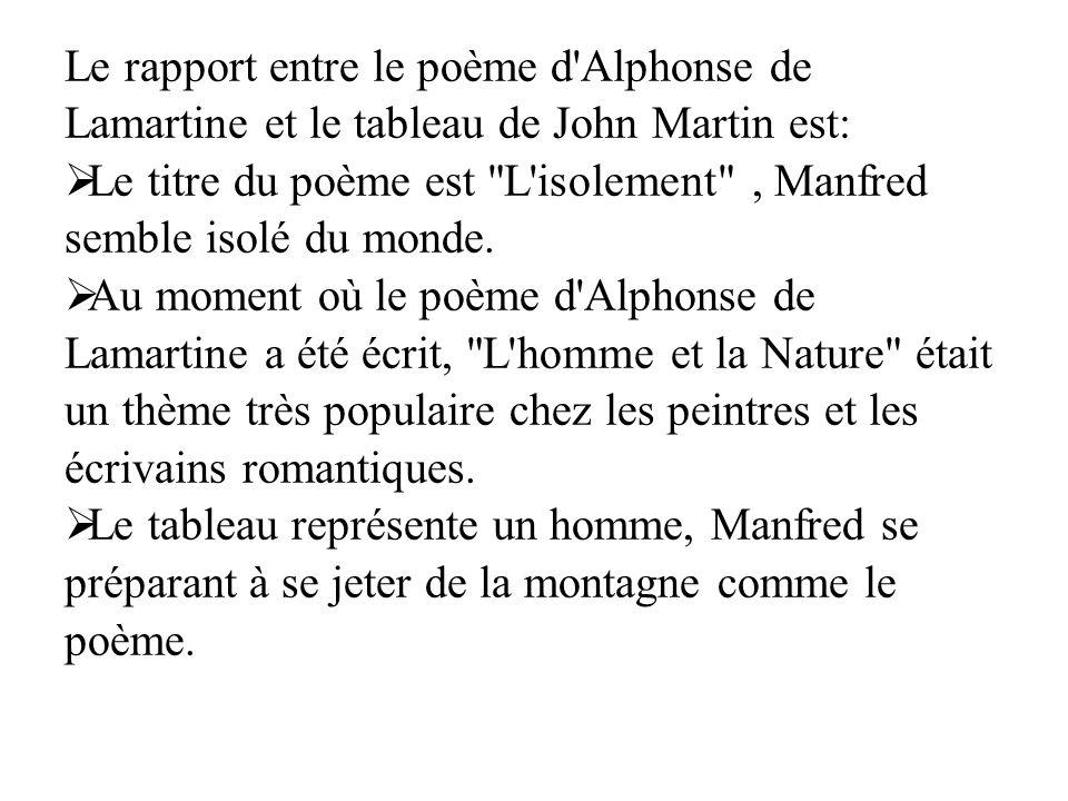 Le rapport entre le poème d Alphonse de Lamartine et le tableau de John Martin est: