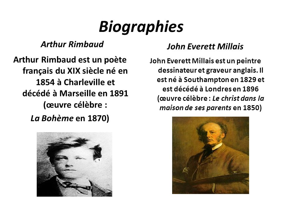Biographies Arthur Rimbaud John Everett Millais
