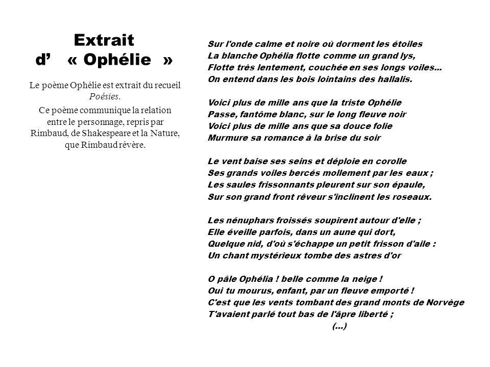 Le poème Ophélie est extrait du recueil Poésies.