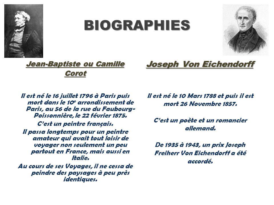BIOGRAPHIES Joseph Von Eichendorff Jean-Baptiste ou Camille Corot
