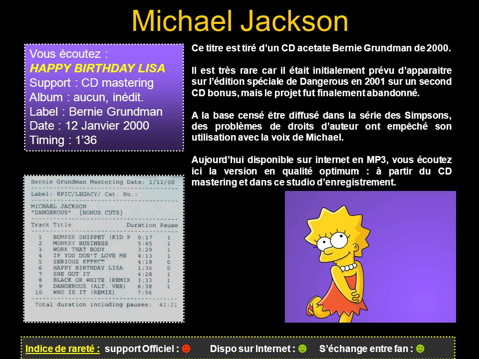 Michael Jackson Vous écoutez : HAPPY BIRTHDAY LISA