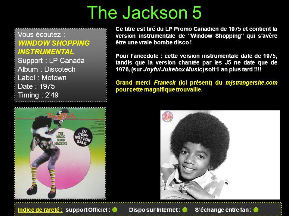 The Jackson 5 Vous écoutez : WINDOW SHOPPING INSTRUMENTAL