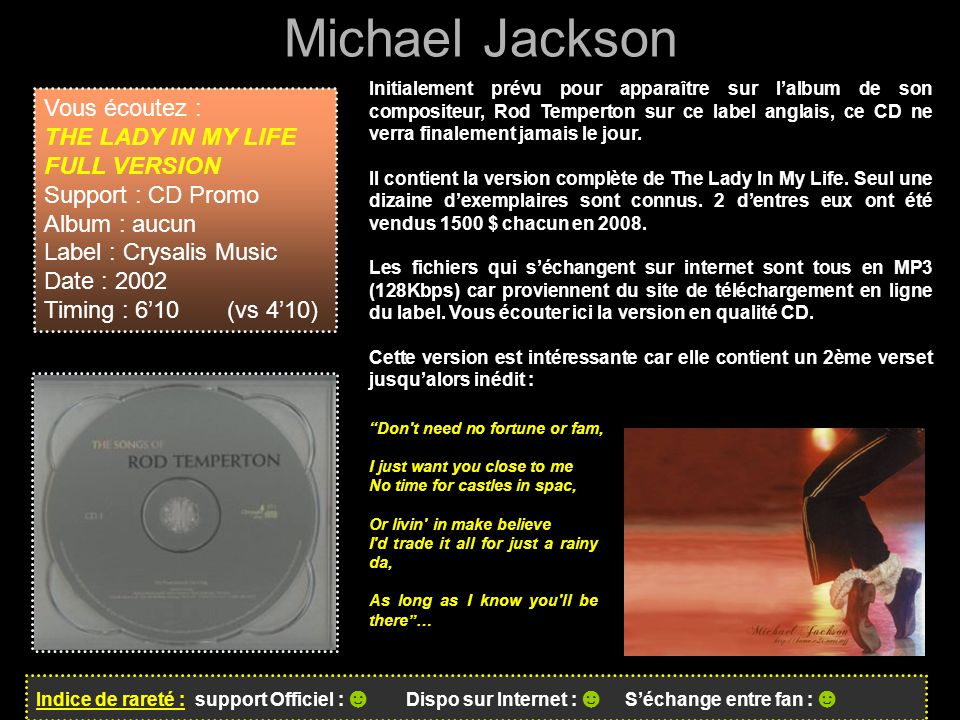 Michael Jackson Vous écoutez : THE LADY IN MY LIFE FULL VERSION
