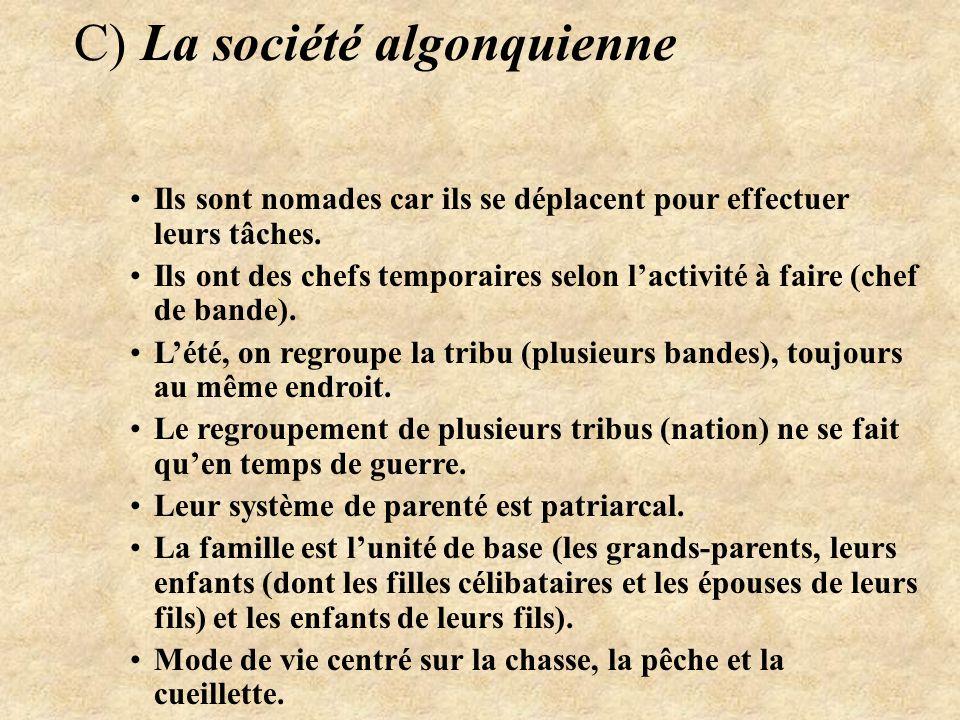 C) La société algonquienne