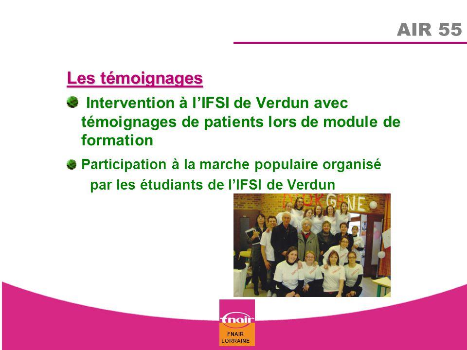 AIR 55 Les témoignages. Intervention à l'IFSI de Verdun avec témoignages de patients lors de module de formation.