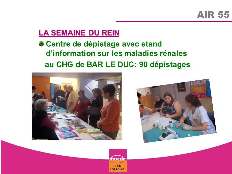 AIR 55 LA SEMAINE DU REIN. Centre de dépistage avec stand d'information sur les maladies rénales.