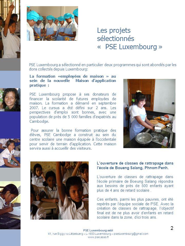 Les projets sélectionnés « PSE Luxembourg »