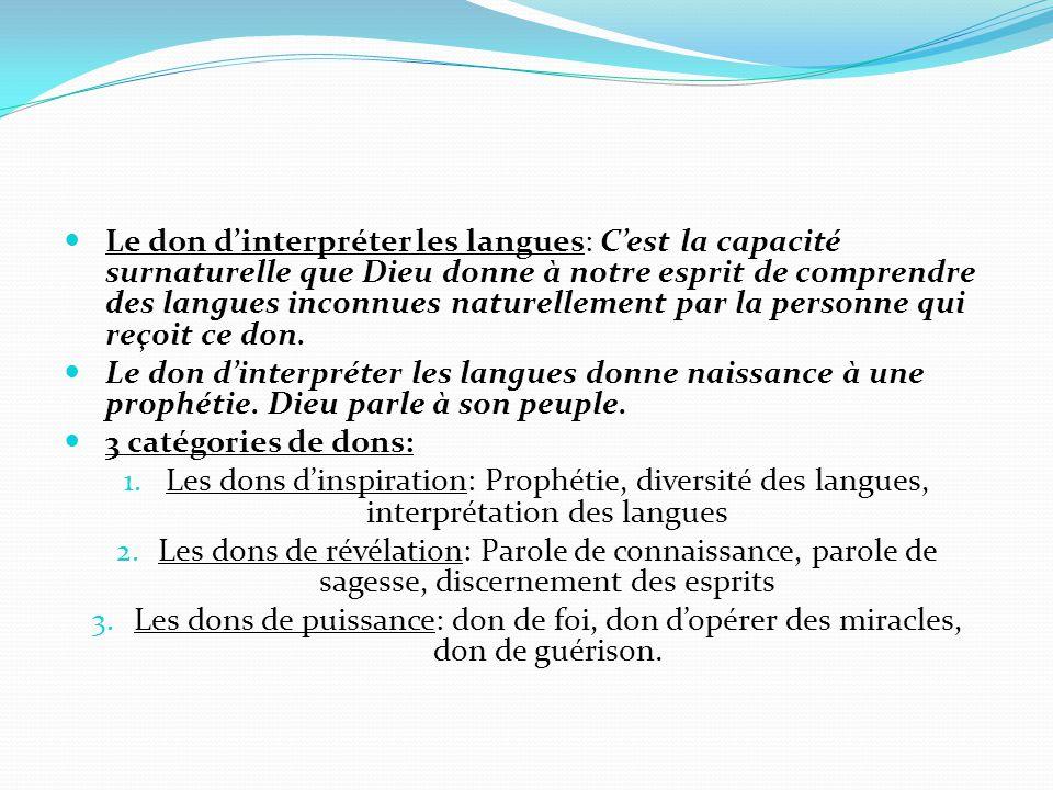 Le don d'interpréter les langues: C'est la capacité surnaturelle que Dieu donne à notre esprit de comprendre des langues inconnues naturellement par la personne qui reçoit ce don.