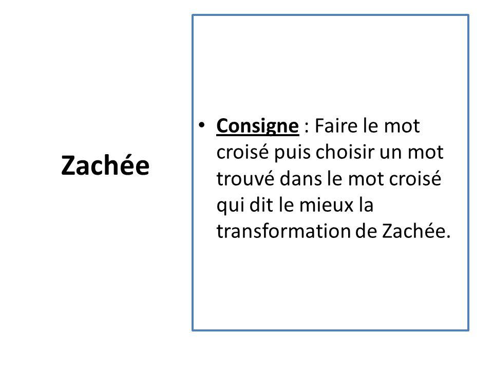 Zachée Consigne : Faire le mot croisé puis choisir un mot trouvé dans le mot croisé qui dit le mieux la transformation de Zachée.