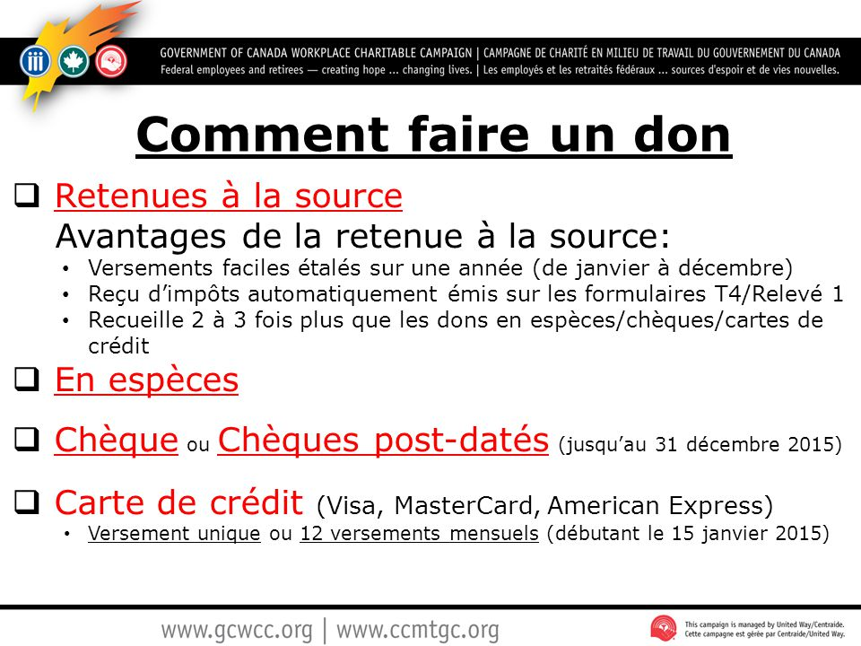 Comment faire un don Retenues à la source