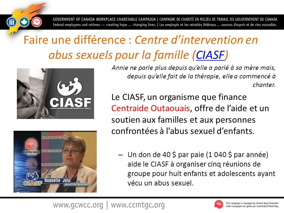 Faire une différence : Centre d'intervention en abus sexuels pour la famille (CIASF)