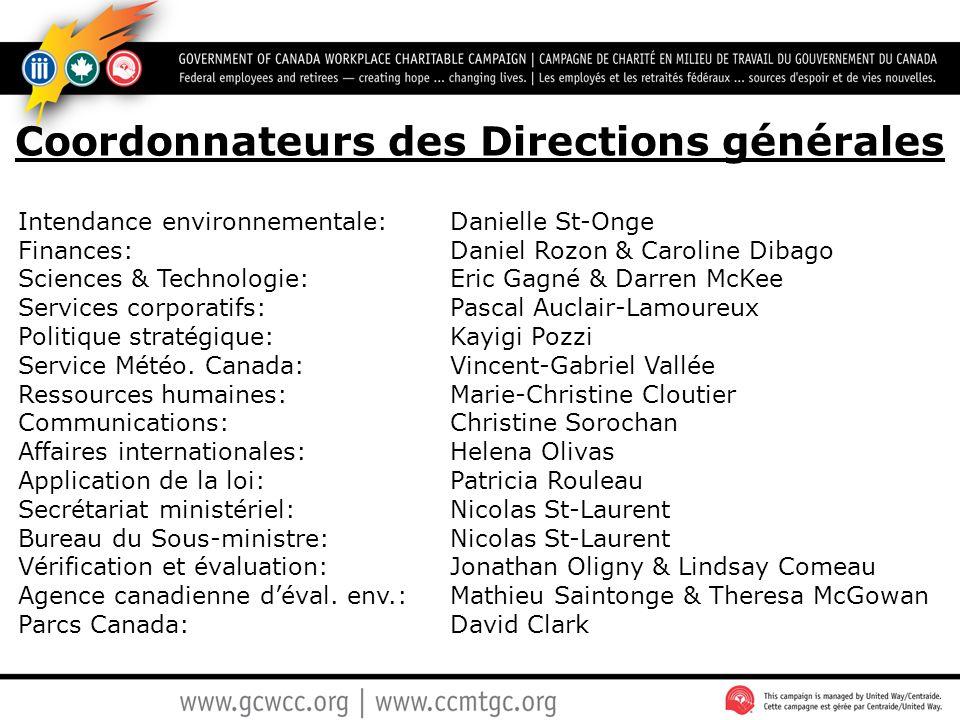 Coordonnateurs des Directions générales