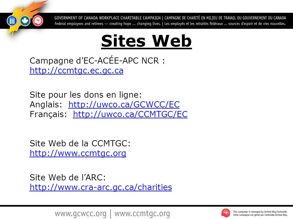 Sites Web Campagne d'EC-ACÉE-APC NCR : http://ccmtgc.ec.gc.ca
