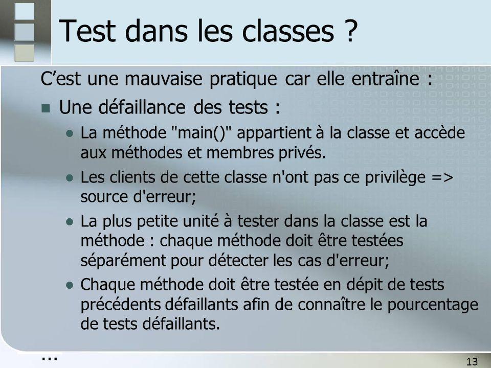 Test dans les classes C'est une mauvaise pratique car elle entraîne : Une défaillance des tests :