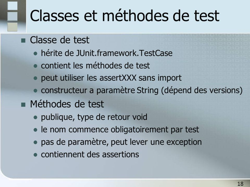 Classes et méthodes de test