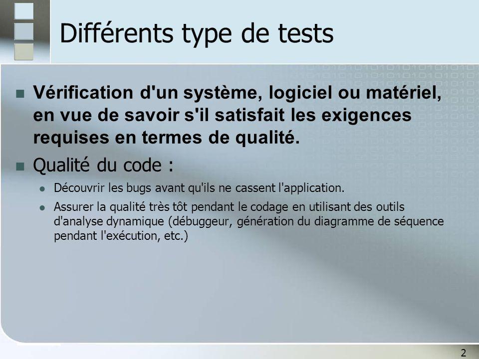 Différents type de tests
