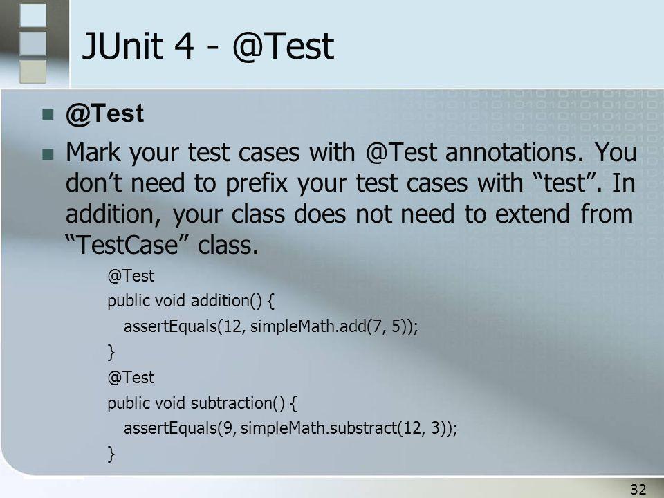 JUnit 4 - @Test @Test.