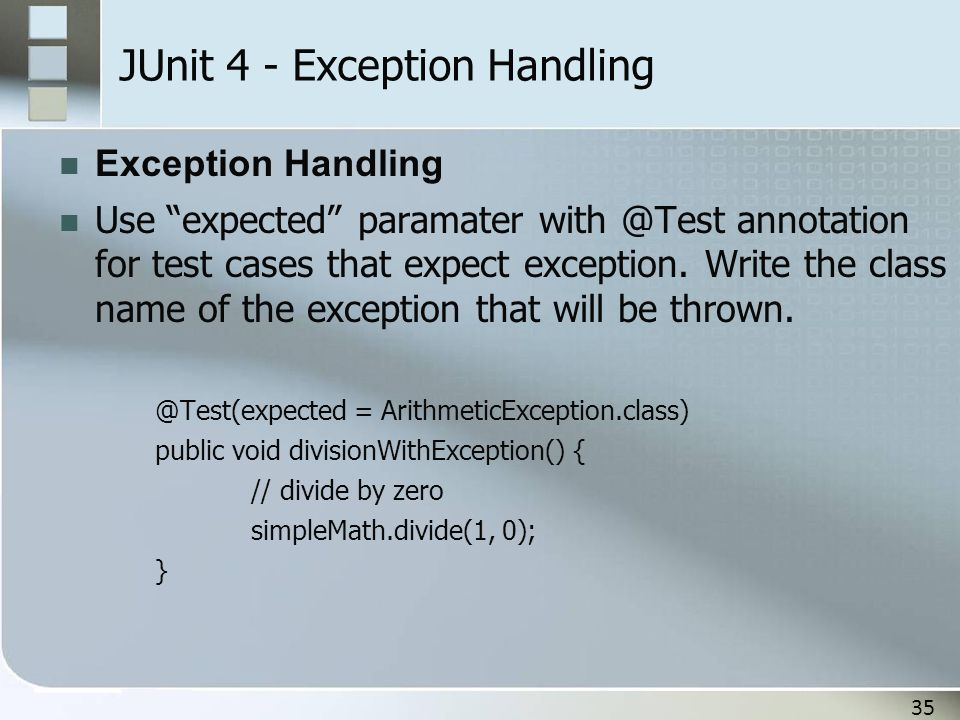 JUnit 4 - Exception Handling