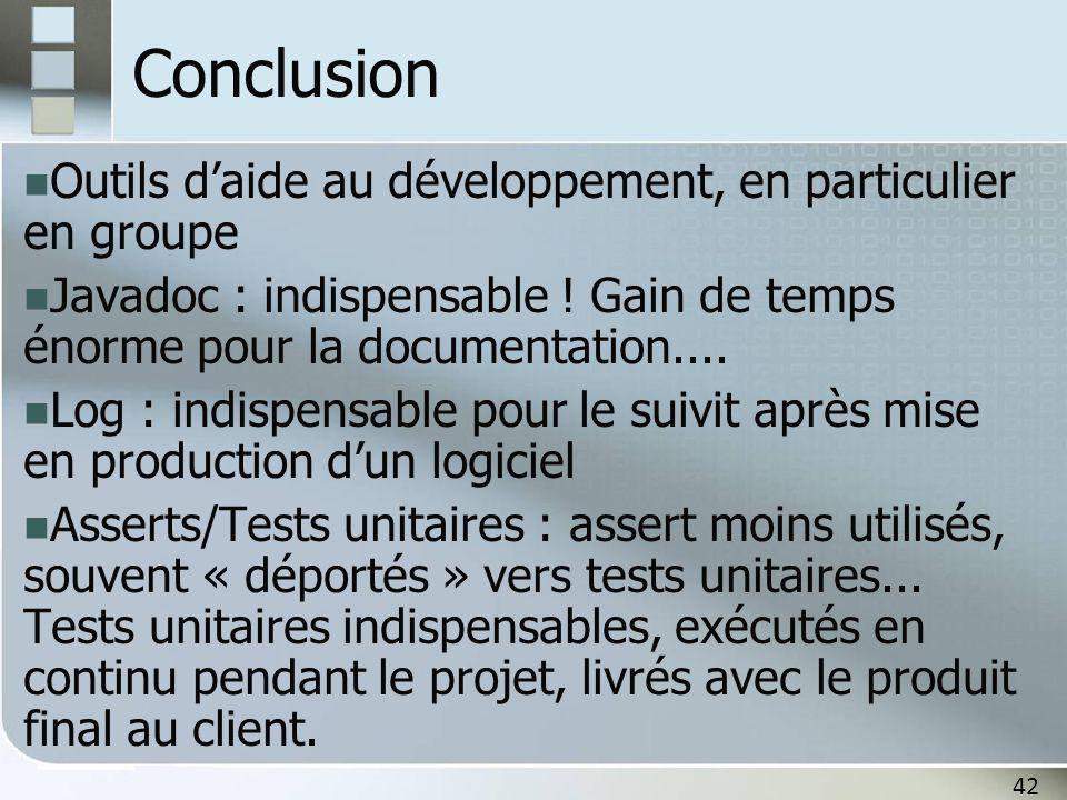 Conclusion Outils d'aide au développement, en particulier en groupe