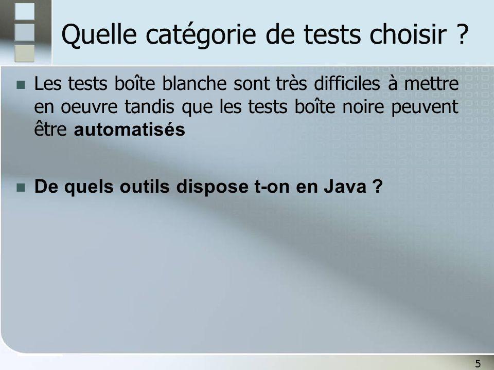 Quelle catégorie de tests choisir