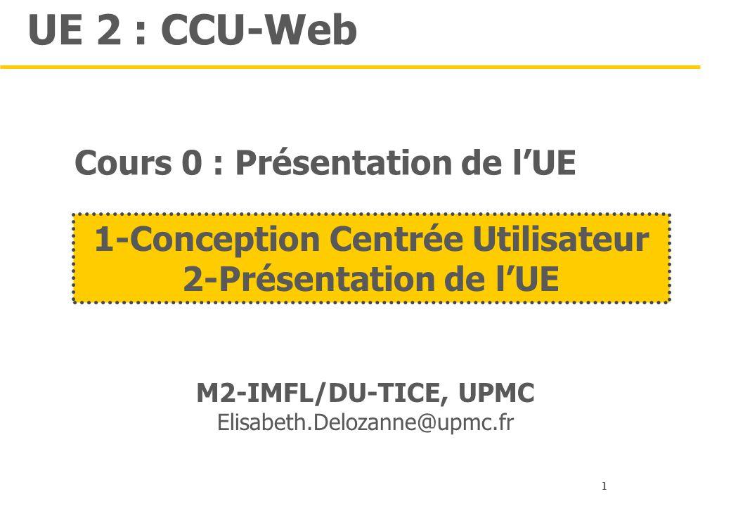 Cours 0 : Présentation de l'UE 1-Conception Centrée Utilisateur